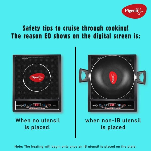Top view of the induction stove with and without utensil