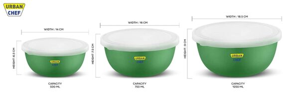 size of the 3 bowls